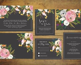 Black Wedding Invitation Suite (Set of 25) | Floral Wedding Invitation Set, Wedding Invite, Wild Flower Invitation, Spring Wedding