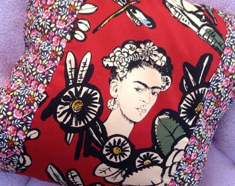 Roses and Grenadine Red Frida Cactus Flower 20 inch Artistic Statement Pillow Cover