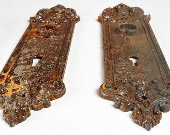 Sargent and Co. Cast Iron Victorian Door Plate Set / Vintage Antique Cast Iron Door Hardware