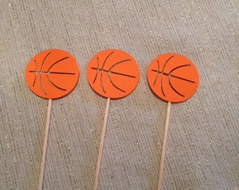12 basketball cupcake toppers. Birthday, baby shower, reveal party decorations.