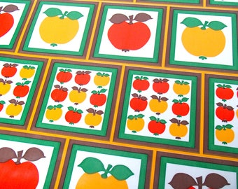 Vintage oilcloth / fabric / original 70s / apple / 1970 / by the yard