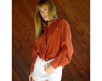 Burnt Orange Paisley Embroiderd Boyfriend Shirt - Vintage 90s - L