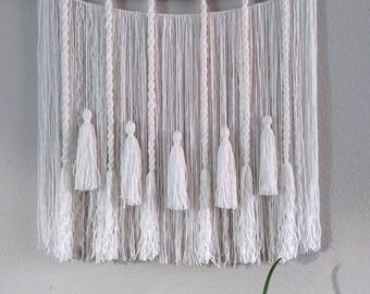 Tassels and Twists Yarn Wall Hanging | Bohemian Decor | Fiber Art Wall Decor