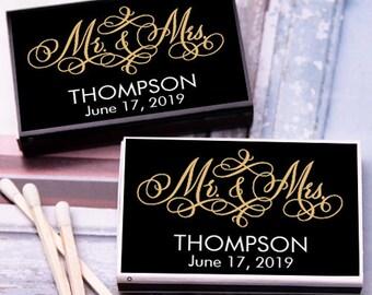50 pcs Mr. & Mrs. Elegant Script Personalized Matchboxes  (JM273696-13)