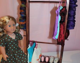 Doll Clothes Rack,Mahogany Clothes Rack,18 Inch Doll Clothes Rack,Clothes  Storage