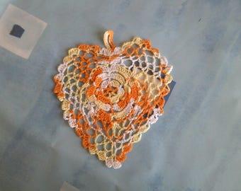cotton white, yellow and orange heart
