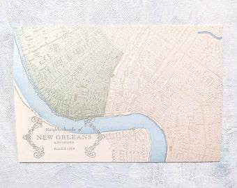 New Orleans Neighborhoods - Uptown Letterpress Postcard