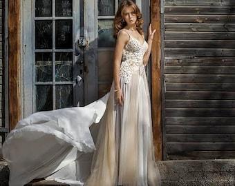 Low Back Lace Wedding Dress, Designer Wedding Dress, Custom Made Wedding Dress, Unique Wedding Dress, Wedding Gown, Lace Wedding Dress