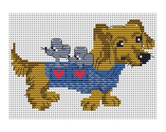 Cross Stitch pattern Dachshund with mice counted embroidery