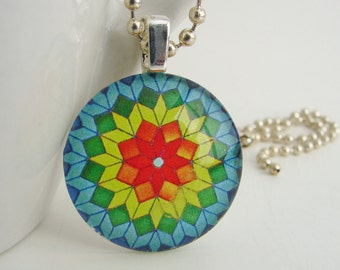 Bright Colors Kaleidoscope Pendant with Free Necklace