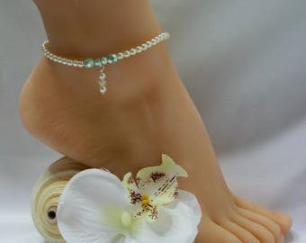 Aqua Anklet Swarovski Crystal Pearl Beach Jewelry Bridal Anklet Wedding Anklet Beach Wedding Jewelry Ankle Bracelet