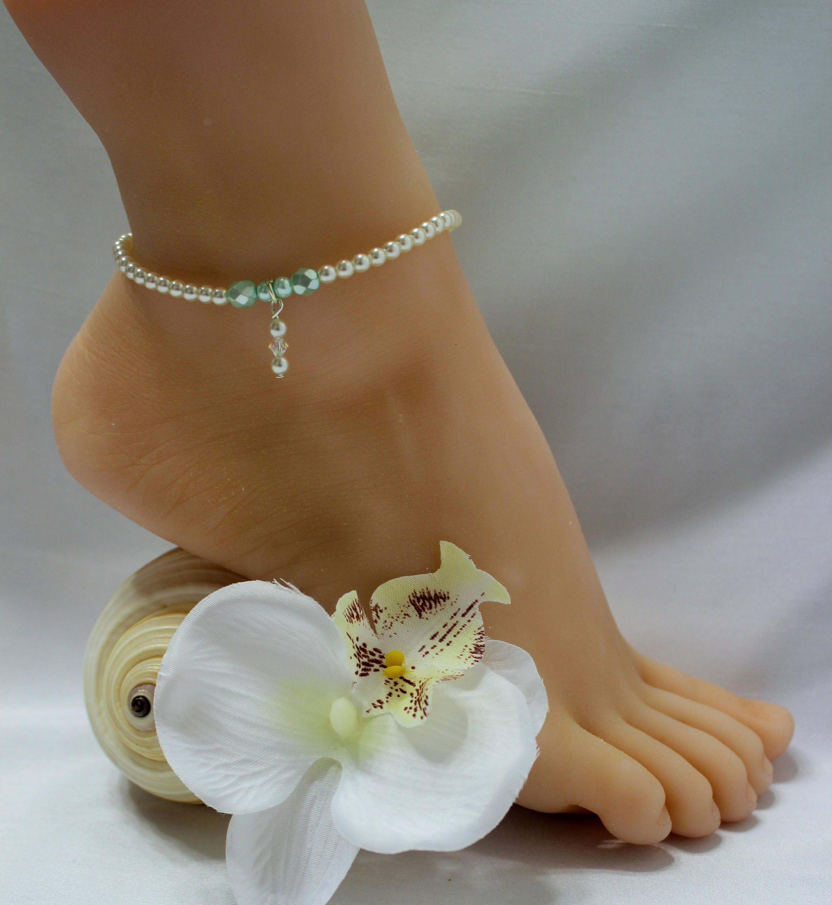 hippie zoom jewelry silver wedding sandals foot dilw anklet fullxfull blue flower il barefoot indigo listing