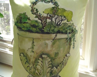 A Decorative Pedestal Urn Pillow Accent - Hand Painted Art 16 x 21 Tall Romantic Ornate Garden Planter Conservatory/Porch Home Decor