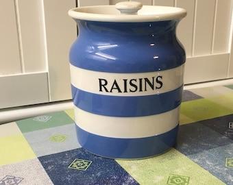 Vintage Cornishware Kitchen Storage Container-Raisins c1930-1950s