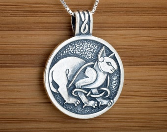 STERLING SILVER Celtic Cat Pendant Necklace My ORIGINAL -   Chain Optional