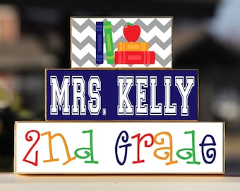Teacher Sign Back to School Custom Personalized -Trio Wood Blocks Stack - Classroom Decor/Gift - Wooden Blocks