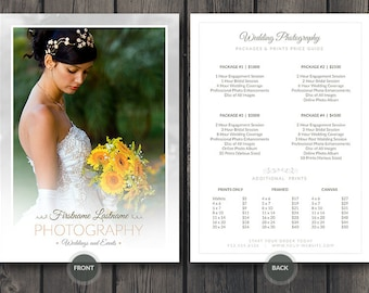 Wedding Photographer Pricing Guide / Price Sheet List 5x7 v4 - Photoshop PSD Template - Easy Editing: Change Colors, Photos and Details Fast