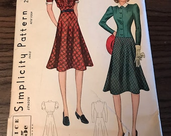 Vintage Simplicity Dress and Fitted Jacket Pattern 2957 Size 12