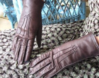Vintage 1940's Brown Leather Dress Gloves