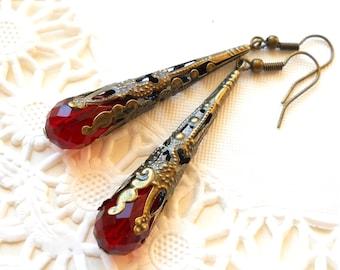 red bohemian earrings red earrings red beaded earrings bronze and red earrings bronze earrings boho style earrings