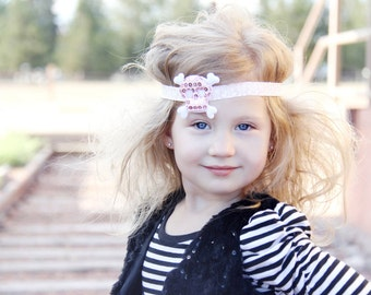 Skull Headband.Toddler Headband.Pirate Princess.Pirate Baby.Damask Headband.Sugar Skull.Skull Baby Headband.Baby Girl Headband.Rocker Chic