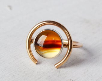 Montana Agate Orb Ring, 14K Gold Ring, Round Gemstone Ring, Fine Jewelry, Gold Circle Ring, Stone Statement Ring, Montana Agate  Ring