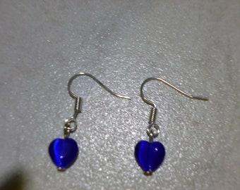 handmade original Silver dangley earrings, blue heart glass beads,