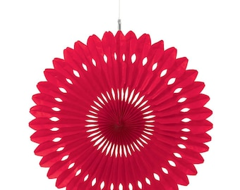 """12"""" Red Tissue Paper Decorative Fans-Large Fancy Circles- Wedding Decoartion-Baby Shower-Bridal Decor-Hanging Room Paper Pom-Birthday Party"""