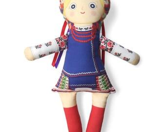 Handmade Ukrainian Doll - Oksana Cloth Doll Female Character From My Ukrainian American Story, Children's Picture Book by Adrianna Bamber