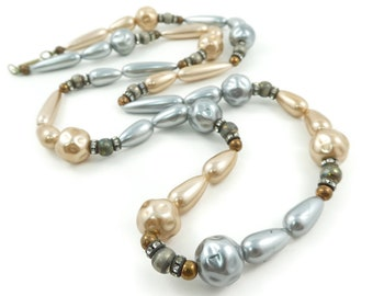 Vintage, Glass Bead, Necklace, Rhinestone Spacers, Long, STE71