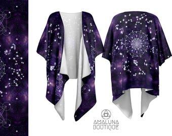 Constellations kimono jacket, Sacred geometry, Kimono cardigan, Chiffon kimono, Sheer kimono, Fringe kimono, Zodiac print, Cosmos Kimono
