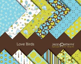Love Birds digital paper pack DP016 instant download