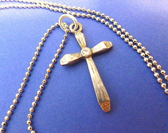 CZ SILVERTONE Cross, Silver Cross & Neck Chain, Vintage Cross Pendant with Cubic Zirconia Necklace, Cross Necklace, Vintage Silver Cross