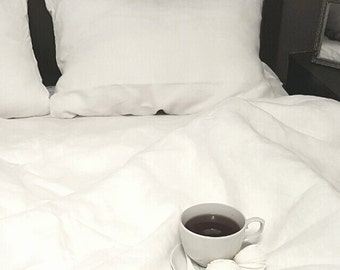 Linen Bedding Set, Flax DUVET COVER  and two PILLILLOWCASES, 100% Linen, Linen Bedding, Queen/ King/ Full Sizes, Pure Linen, Organic, gift.