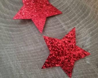 Red star glitter hair bow set. Star hair clip l. Alligator hair clip.