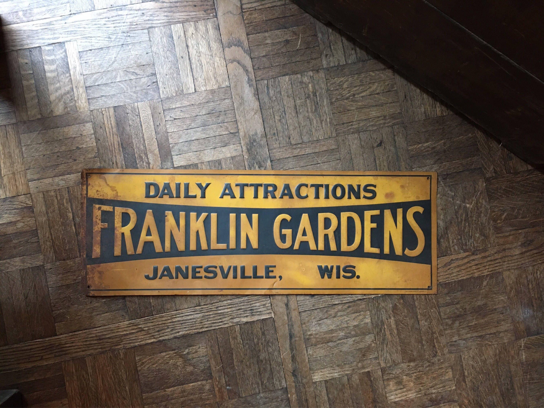 Vintage Franklin Gardens Sign, Janesville Wisconsin, Vintage Metal Sign,  Rusty Tin Sign, Kitchen Decor