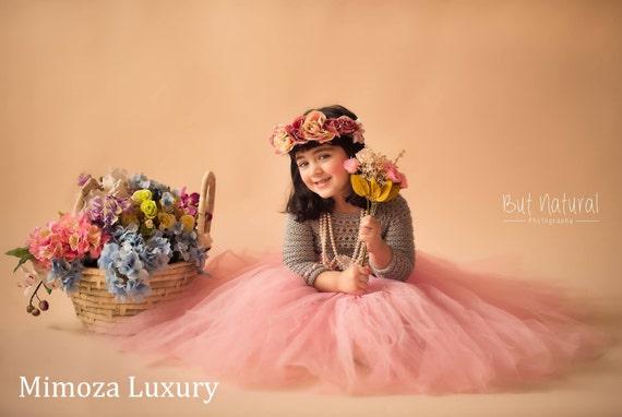 Pink Grey Long Sleeve Flower girl dress, tutu dress, pink bridesmaid dress, princess dress, silk crochet top tulle dress