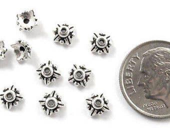 TierraCast Pewter Bead Caps-SILVER LEAF 5mm (10 Pcs)