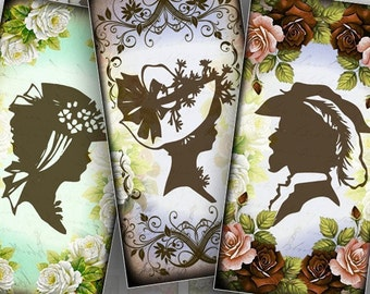 Digital collage sheet 1x2 inch digital art domino tile necklace jewelry making supplies paper download Victorian lady (084)BUY 3 GET 1 FREE