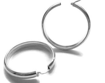 925 Sterling Silver Hoop Earrings, Wide Sterling Silver Hoops, Hinged Hoops, Large Sterling Silver Hoops, Big Sterling Hoops