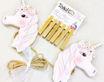Unicorn Girls Wooden Wall Art DISPLAY CLIPS for Kids Bedroom Baby Nursery Playroom AC0079