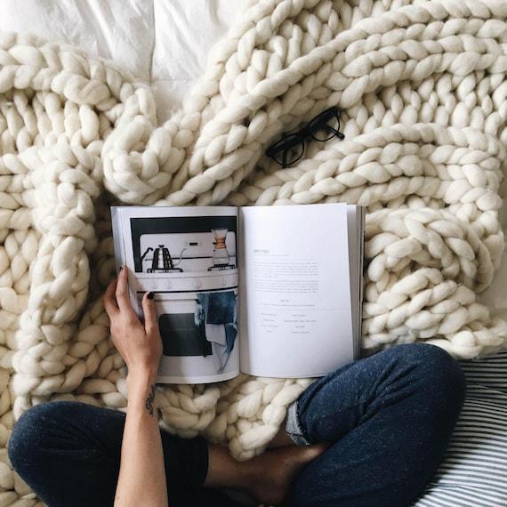 "Chunky Blanket, 32x54"" Pure Merino Throw Blanket, Giant Knit Blanket, Huge Stitch Size"