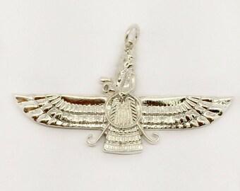 925 Sterling Silver Farvahar Ahura Mazda Zoroastrian Persian Achaemenid Pendant Made in USA
