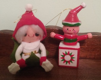 2 Vintage Creepy Ornaments
