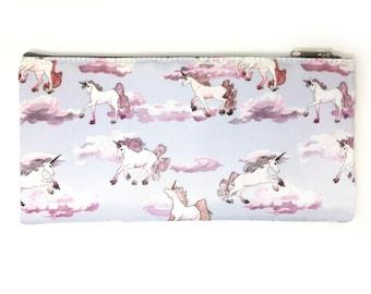 Watercolor Unicorn Pencil Bag, Pink Unicorn Zipper Bag, Purple Unicorn Cosmetics Bag, Unicorn Themed Bag, Back to School Unicorn Accessories