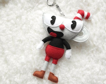 Cuphead Handmade Felt Toy Keychain