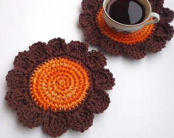 Crochet Flower Coasters - Rustic Table Decor - Pumpkin Orange Coasters - Rustic Home Decor - Gift for Farmers - Autumn Decor - Set of 2
