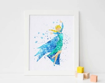 Frozen Elsa Print, Frozen Disney Frozen wall decor - Frozen Watercolor, Frozen Art Print, Frozen Wall decor, Disney Princess Poster