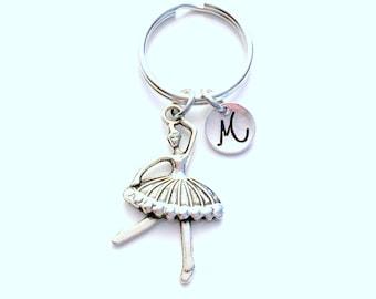 Dancer's Keychain, Ballet Keyring, Custom Monogram Dance Key Chain, gift for Ballerina with Initial letter birthstone teenager teenage teen