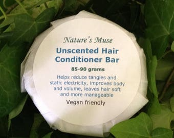 Hair Conditioner Bar, unscented, 85 to 90 grams, vegan friendly